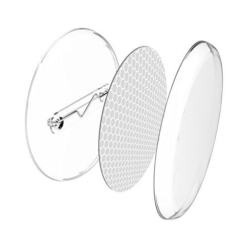 Reflektor-Buttons zum selber machen (30 mm, 10 Stück, weiß) für Kleidung, Schulranzen, Kinderwagen
