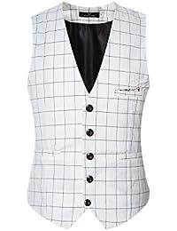 Gilet Homme Costume à Carreaux Slim Sans Manche Veste Elégant Simple