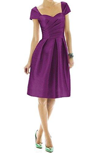 Robe de cocktail avec manches courtes satin Violet