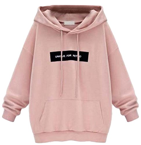 EKU Womens Vogue Letters Printed Hoodie Sweater Top Pink M