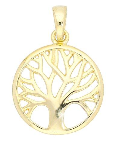 MyGold Lebensbaum Anhänger (Ohne Kette) Gelbgold 750 Gold (18 Karat) Massiv Ø 14 mm Rund Kreis Trend Blogger Baum Kettenanhänger Goldanhänger Damenanhänger Geschenke Für Frauen Botany A-07786-G501