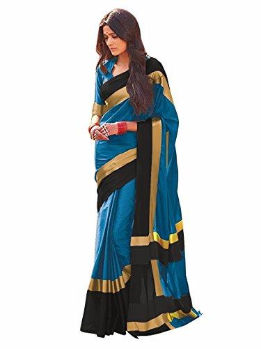 Indian Beauty Women's Cotton Silk Saree (SKY-BLACK)