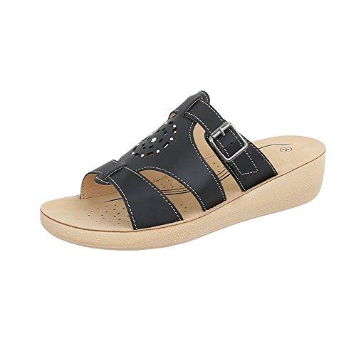 Sandalen Damen Clogs Pantoletten Praxis Apotheke Hausschuhe Slipper Sandaletten ST825 (39, Schwarz)