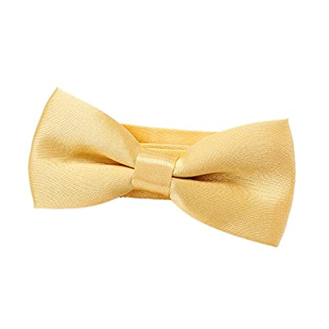 DonDon comfortable Boys bow tie pre-tied with adjustable length silk look for children Gold Yellow