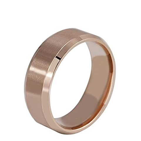 LHWY New Stainless Steel Ring Band Titanium Silver Black Gold Men SZ 7 to 11 Wedding (Stainless Steel(rose gold), 11)