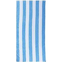 Cabana - Toalla de Playa Gigante con Rayas Blancas y Azules (70 cm x 150 cm)