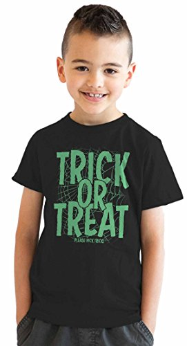 Kostüm Nerds Süßigkeiten (Crazy Dog TShirts - Youth Trick or Treat Pick Trick Tshirt Funny Halloween Night Tee For Kids (black) M - jungen -)