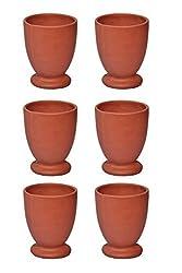 Daksh craft Villa Clay Glass for Ayurvedic Health Benefits Drinkware Tumbler (Pack of 6)