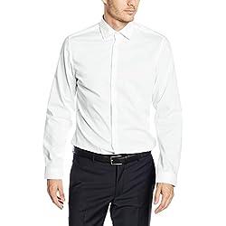 Seidensticker Herren Business Hemd Slim Fit Langarm Uni mit Kent-Kragen Bügelfrei, Weiß (Weiß 01), Kragenweite: 38 cm