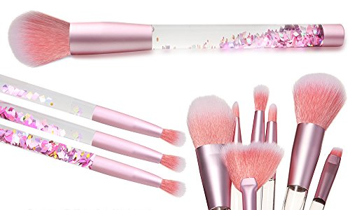 Aquarius Cosmic MakeUp Brush Set Liquid Glitter Handle Foundation Powder Eyeshadow & MultiPurpose Soft Bristles Professional & Beginners MakeUp Tools (Pink with Pink Brush)