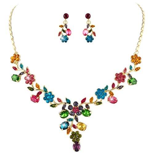 EVER FAITH® Pendientes de Collar de Hoja de Flores Juego de Cristal Austríaco de Oro-Tono - Multicolor N03848-3
