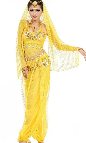 Damen Bauchtanz Kostüme Set Indischer Tanz Darbietungen Kleidung Gelb
