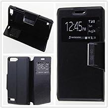 MISEMIYA - Funda Huawei Ascend G6 4G / Huawei Ascend G535 / Huawei Ascend P7 MINI / Orange Gova - Funda Solo, Libro View Sporte,Negro