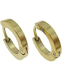 Ohrringe Creolen aus Edelstahl, gold, 14mm Durchmesser, 2mm schmal