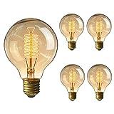 4 Pack of Wootly Nostalgie Edison Lampe Bernstein Vintage Stil Edison Gelb Glas Glühbirne, 25W G80 Draht um, E27, 220V, Warmes Licht, 60lumen