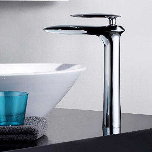 Kunmai Modern Tall Counter top lavabo monocomando mono in finitura cromata