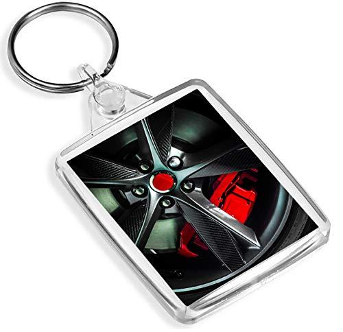 Destination Schlüsselanhänger aus Vinyl, mit Alufelgen, IP02, roter Bremssattel aus Kohlefaser, Sportwagen-Geschenk #14421