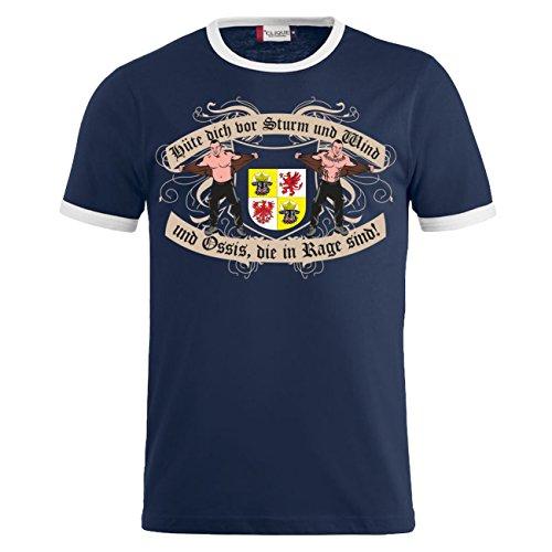 Männer und Herren T-Shirt Ossis in Rage Mecklenburg Vorpommern Dunkelblau/Weiß