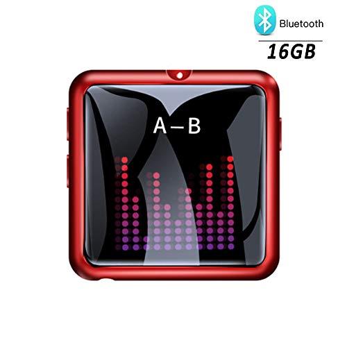 WANGCHAO Touchscreen-Bluetooth-MP3-Player, 16 GB Speicher, FM-Radio, MP4-Videoclip, Entwurfszeitanzeige, E-Book-Wiedergabe, OTG-Unterstützung, 128 GB Erweiterung,Red (Touchscreen Gb 16 Player Mp4)