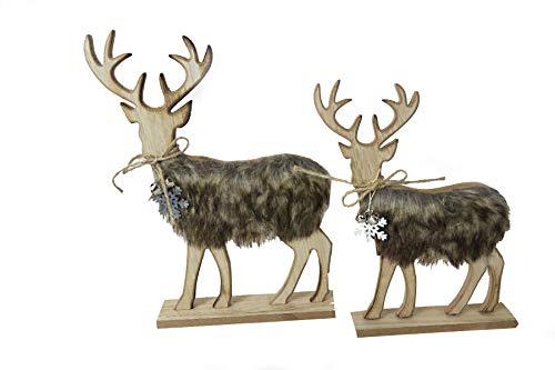 Preisvergleich Produktbild Home Collections Boltze Holz Hirsch Aufsteller mit Fell braun 2 Stück stehend 25 u 29 cm
