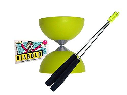 Diabolo Acrobat (Hellgrün) + Handsticks Aluminium (Schwarz) + Aufkleber