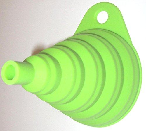 Silikon Falttrichter grün 1 Trichter der Kleine ist 8cm flexibel und platzsparend verstaubar für Küche & Heimwerken (Grün) - 2