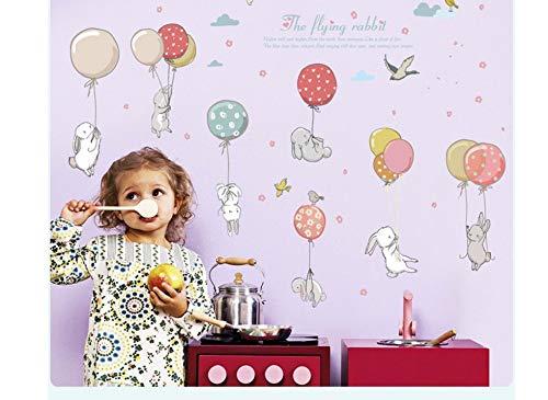 Zxfcczxf Ballon Kaninchen Kinderzimmer Nachttisch Kleiderschrank Computer Kindergarten Klassenzimmer Hintergrund Dekorative Wandaufkleber Wandbild 50 * 70 Cm