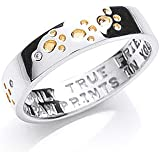 The Blue Cross Animal Charity Silver Band Ring with Gold Plated and Cubic Zirconia Paw Prints