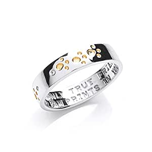 The Blue Cross Animal Charity Silver Band Ring with Gold Plated and Cubic Zirconia Paw Prints - Size L