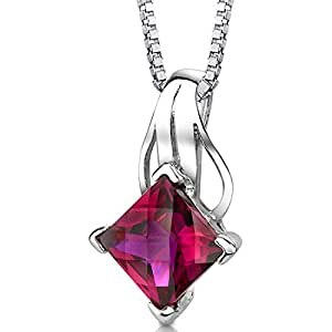 Created Ruby Pendant Necklace Sterling Silver Princess Checkerboard Cut