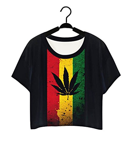 Pretty321 Women Girl Lovely Black Maple Flag Print Cute T shirt Crop Top Blouse Tee Amazon