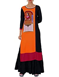 Women's Panelled Rayon Kurta, Black