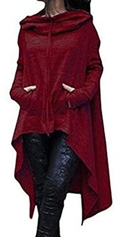 Blansdi Damen Winter Herbst Unregelmäßige Lose Lang Kapuzenpullover Kleider Oversize Langarm Hoodie Sweater Sweatshirt Tops Casual Pullover