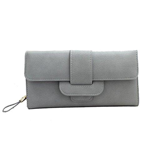 Moda Semplice Raccoglitore Lungo In Pelle Multicolore Grey