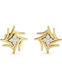 Stylori 18k Yellow Gold and Diamond Taanwa Stud Earrings for Women