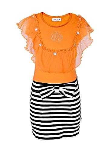 Lil Orchids Girls Yarn Dyed Mesh Tassel Dress(LO-31-ORG-3-4Y_ORANGE_3-4Years)