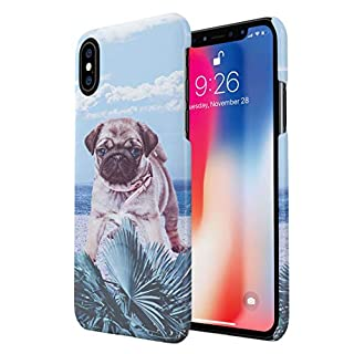 Glitway Cute Blue Eyes Pug Puppy Pup Animal Dog Owner Lover On Tropical Beach Sun Ocean Waves Paradise Island Durable Hard Plastic Snap On Phone Case Cover Shell For iPhone XS Max