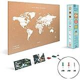 Miss Wood Map L, Mapa del Mundo de Corcho, 45 x 60 cm,