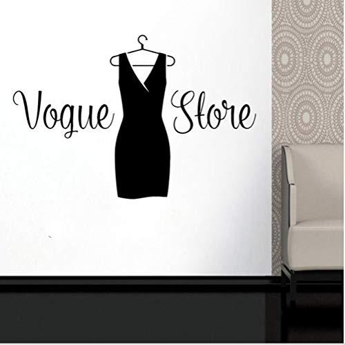 Haninj Vogue Shop Schwarzes Kleid Zeichen Wand Vinyl Aufkleber Mode Lady'S Boutique Boutique Fenster Aufkleber Aufkleber Wandaufkleber Diy 84X57Cm