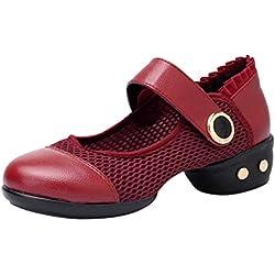 Cinnamou Zapatos de Cuero Mujer Color Sólido Zapatos de Baile Latino Modernos Zapatos de Salón Bailarinas Zapatos