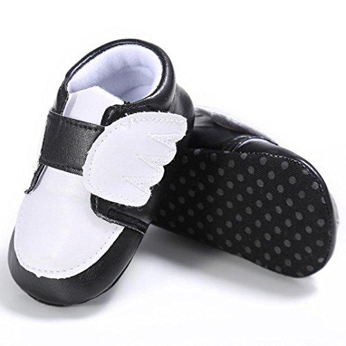Baby schuhe Jamicy® Baby Mädchen Jungen Flügel leder Schuhe Turnschuh Anti-Rutsch weiches Sohle Kleinkind (12~18 Monat, Rosa) Schwarz
