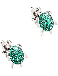 CIFIDET Gemelos Mancuernas de tortuga verde plata tortuga moda hombres camisa joyería con caja de regalo