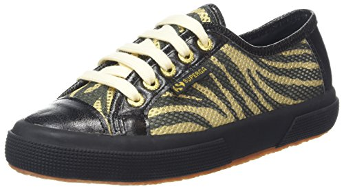 Superga Damen 2750 Animalmeshsynleaw Sneaker Black (Zebra Gold Black/Black)