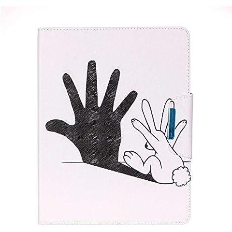 Cuitan Funda Carcasa de Cuero PU para Apple iPad 2/3/4, Patrón del Dibujo Tirón Protectora Tablet Carcasa Cubierta Leather Case Cover con Cierre Magnético y Ranuras para Tarjetas - Palma