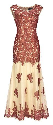 Abendkleid Festkleid Hochzeitskleid Organza Meerjungfraustill Weinrot-Gold (38)