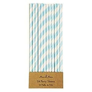 pailles de papier bleu blanc Birthday Party