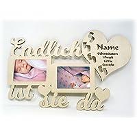11db70df0e Baby Wand Bilderrahmen mit Namen und Geburtsdaten Endlich ist er I sie da  Geschenke zur Geburt