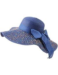 Amayay Berretti da Donna da Flessibile Cappello Sole Cappello Estivo da  Stile Semplice Spiaggia con Puntini Colorati E Papillon Protezione… 91d5190beb86