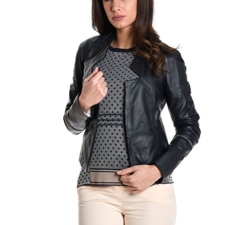 Preisvergleich Produktbild MANILA GRACE Damen L203lumd479 Schwarz Leder Jacke