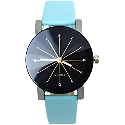 WINWINTOM 1PC Women Quartz Dial Clock Leather Wrist Watch Round Case-Blue